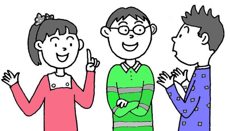 子供は、自分がはじめに読んだ資料のない文章と比較して、話し合います。