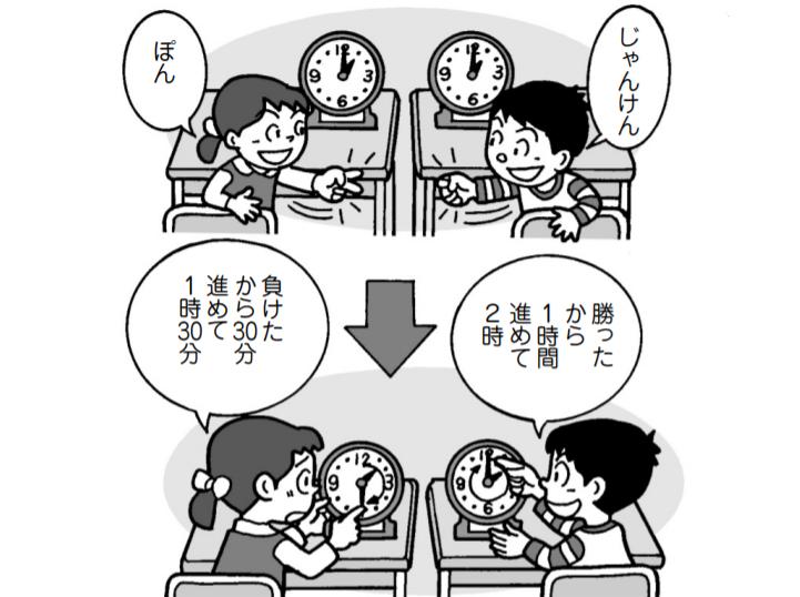 子供たち「じゃんけんぽん!」子供1「勝ったから1時間進めて2時」子供2「負けたから30分進めて1時30分」