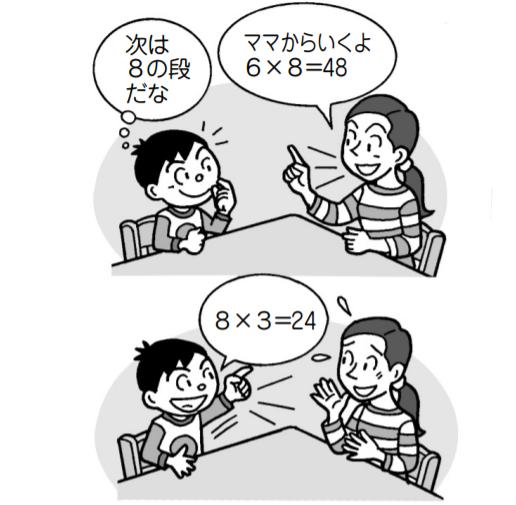 母親「ママから行くよ。6×8=48」子供「次は8の段だな。8×3=24」
