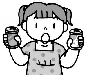 スチール缶とアルミ缶の重さ比べ