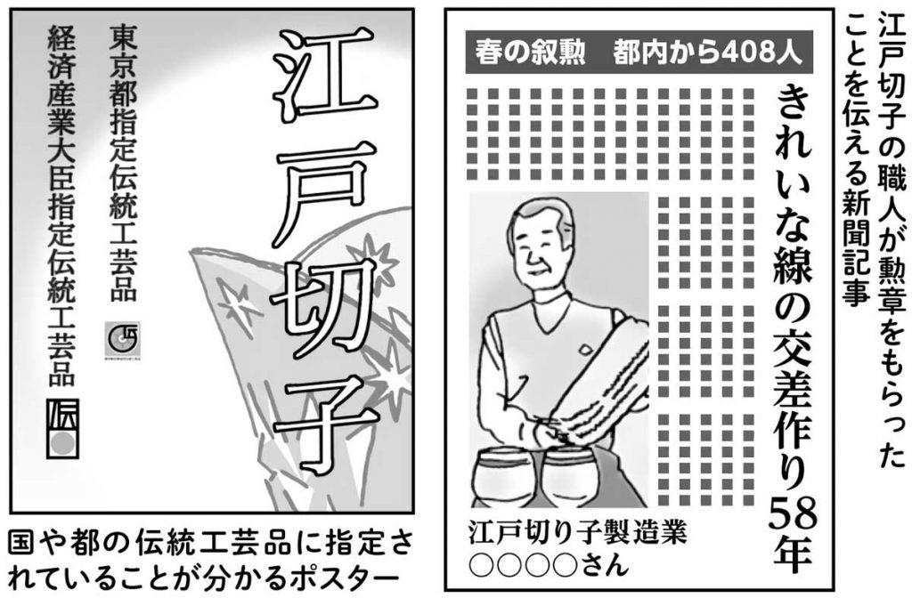 江戸切子に関するポスター、新聞記事