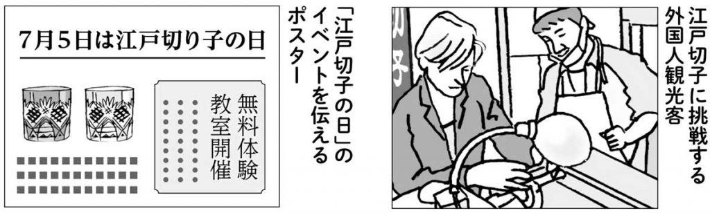 江戸切子のイベントを伝えるポスター・江戸切子の体験