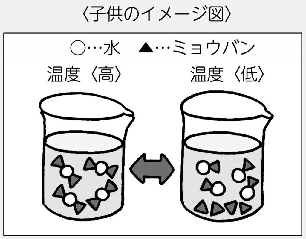 ミョウバンの水溶液の温度による変化(子供のイメージ図)