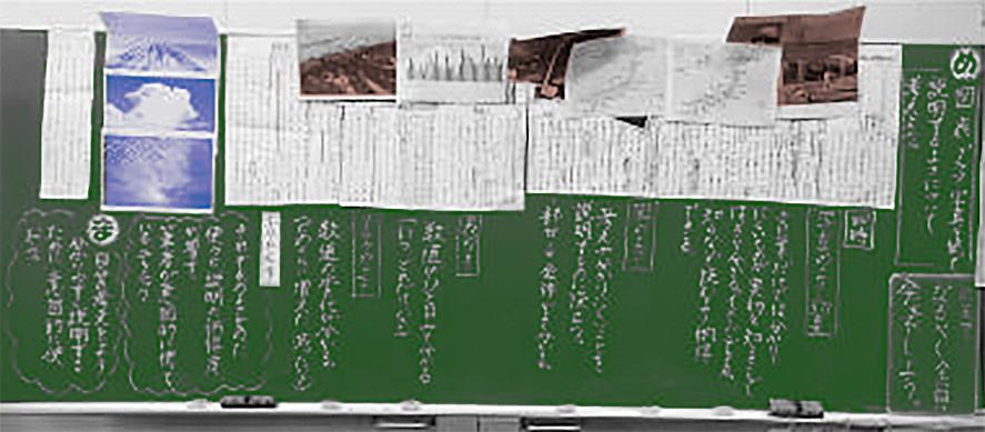 全文シートを黒板に貼って、全体を見渡せるようにした板書