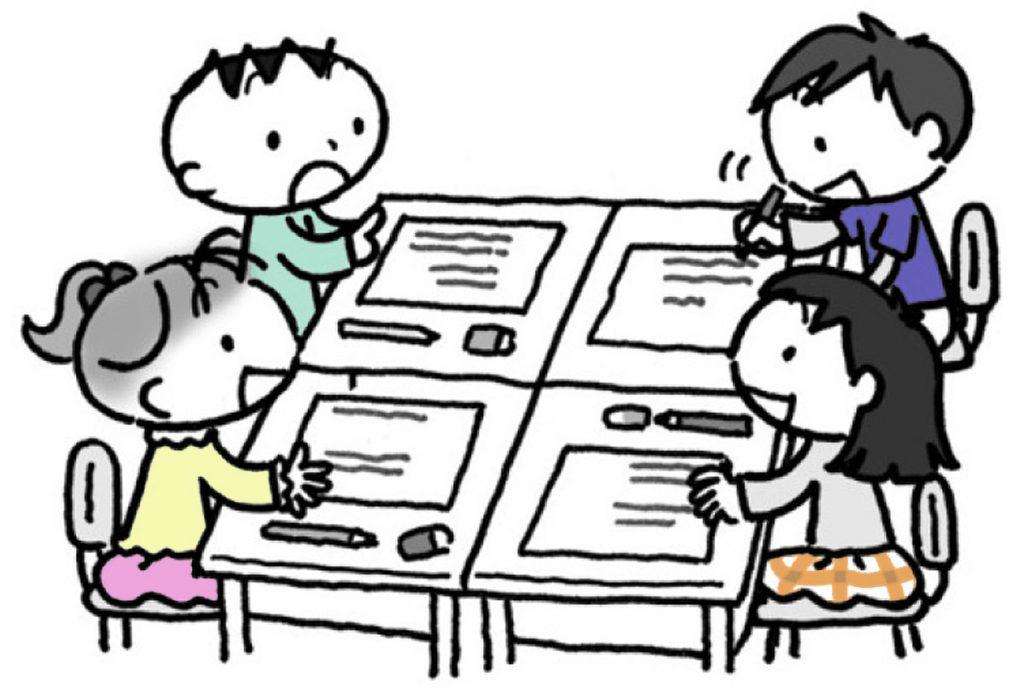 三~四人のグループをつくり、互いに発表をして、道具についての感想や質問などの対話を行います。