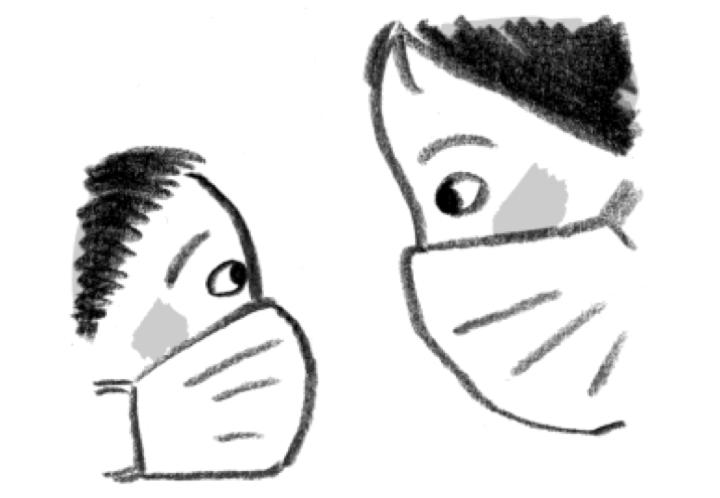 マスクの目イラスト(石川えりこ画)