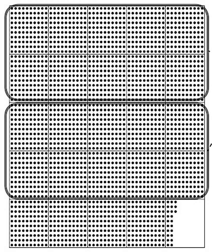100のまとまり10個を線で囲んだドット図