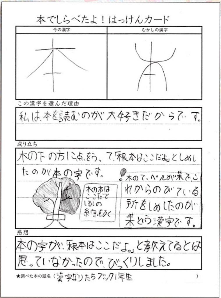 子供が調べた漢字(3年生)。