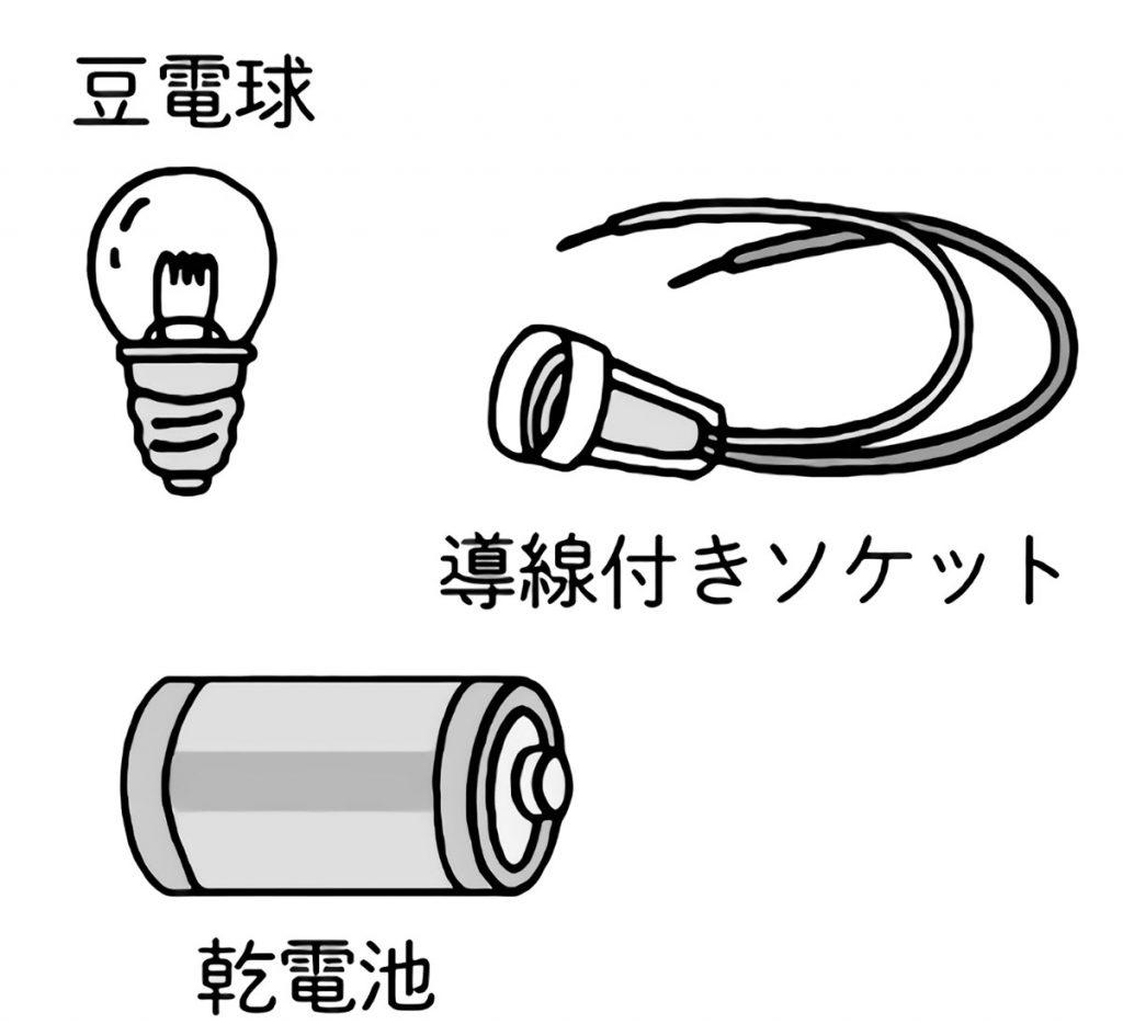 豆電球に明かりをつけるための3つの道具
