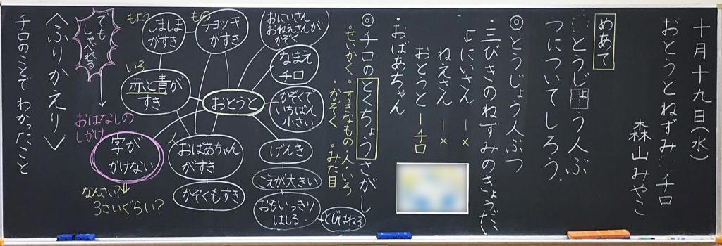 「おとうとねずみチロ」(東京書籍一年)の板書
