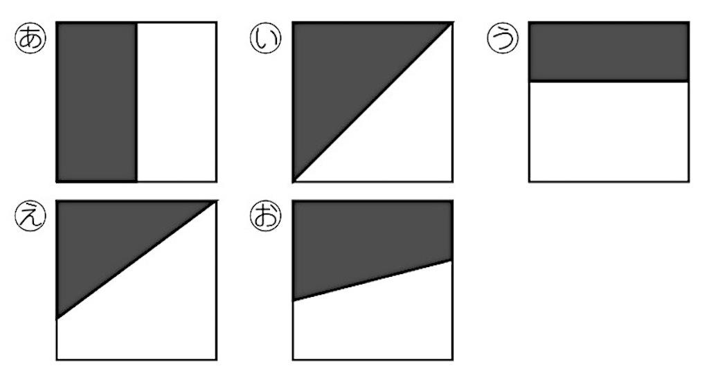 正方形をいろいろな形に2つに切り分けた5つの図