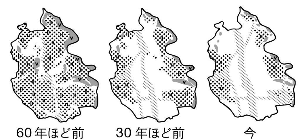 越谷市の土地の使われ方の変化