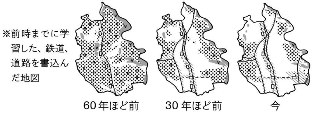 越谷市の土地の使われ方の変化(鉄道・同を書き込んだ地図)