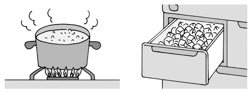 家庭で水を温めたり冷やしたりする場面