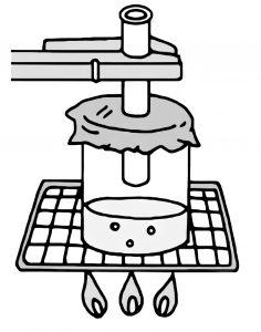 ビーカーに入れた水を沸騰させる実験