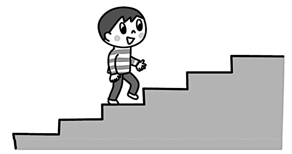 階段を上るたかしさんの絵