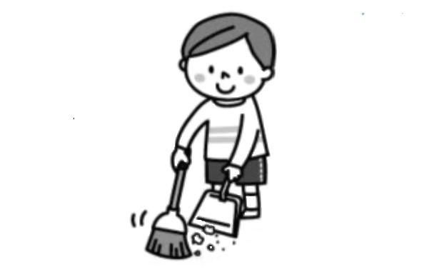 はき掃除をする子供