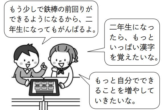 子供1「もう少しで鉄棒の前回りができるようになるから、二年生になってもがんばるよ。」子供2「二年生になったら、もっといっぱい漢字を覚えたいな。もっと自分でできることを増やしていきたいな。」