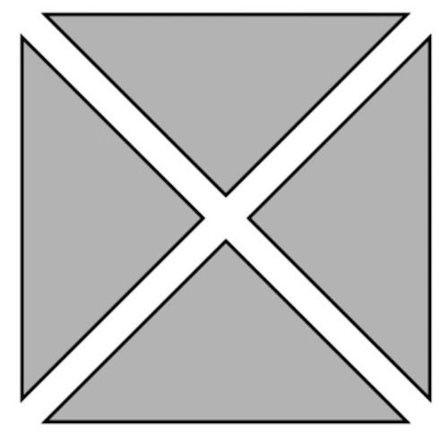色板の位置や向き、組み合わせ方を考え、4枚を使って正方形をつくっている様子