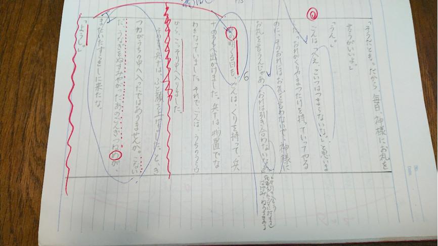 <多賀先生の書写ノート>書写した文章にさまざまなことを書き込んでいく。