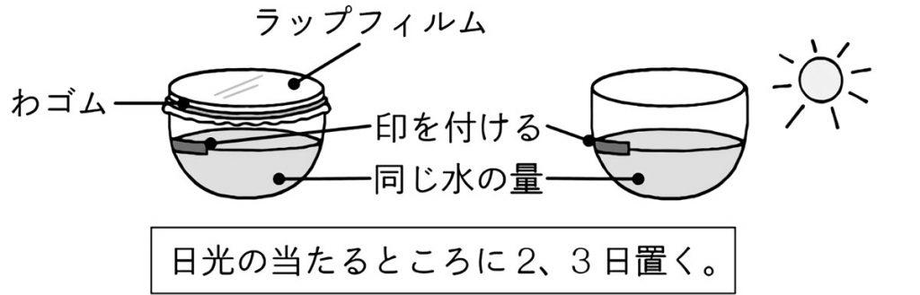 ふたあり、ふたなしの容器に水を入れて比較する