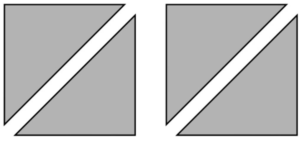 色板2枚を使った正方形を2つつくっている様子