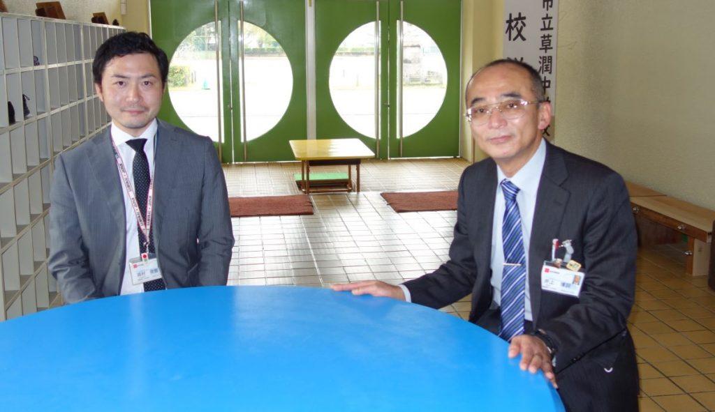 岐阜市教育委員会不登校特例校設置準備室の井上博詞室長と岡村俊哉さん。