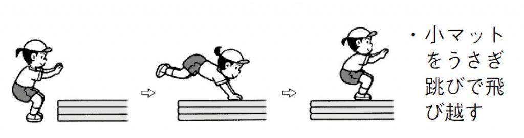 小マットをうさぎ跳びで飛び越す