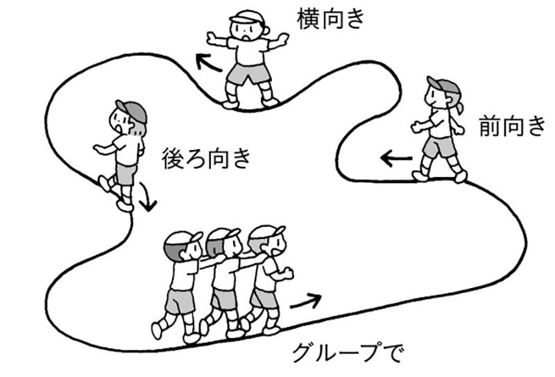 いろいろな歩き方やグループで歩く