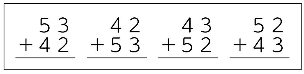 答えが95になる4種類のひっ算