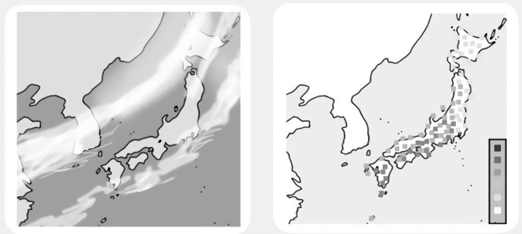 日本列島の雲画像・アメダス画像