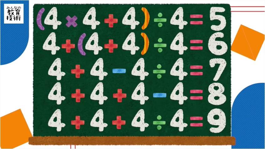 0から9までの数式の例