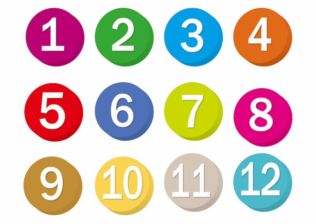 1から12までの数字