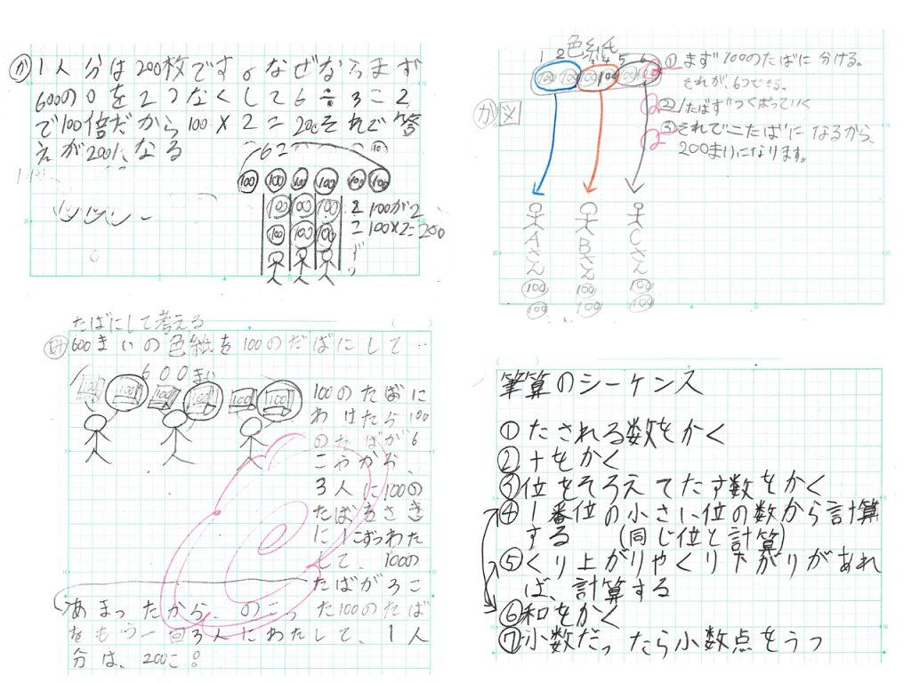 自分の考えを表現しているノート