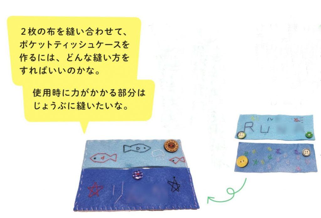 2枚の布を縫い合わせて、ポケットティッシュケースを作るには、どんな縫い方をすればいいのかな。