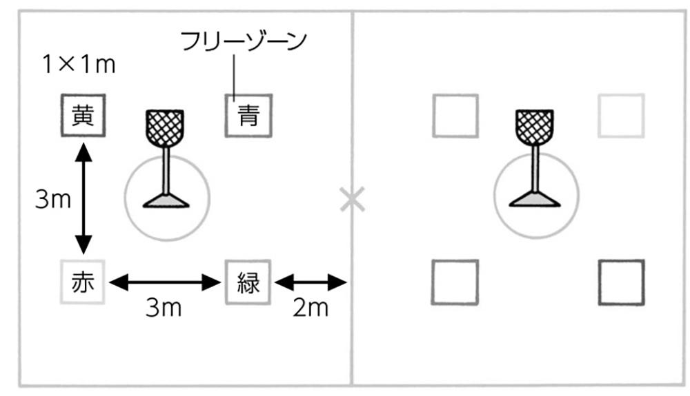 4つのカラーフリーゾーンを設置したコート図