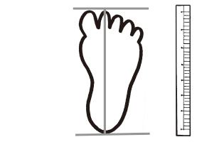 足の形を紙に写して、両端の2点を決め、測っている。