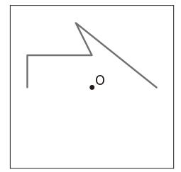 点Oが対称の中心になるように、点対称な図形をかきましょう(方眼なし)。