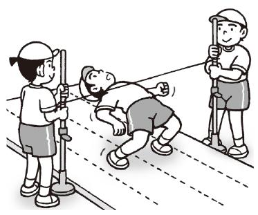 走り高跳び用の支柱とゴム紐を使うと簡単に行うことができます。