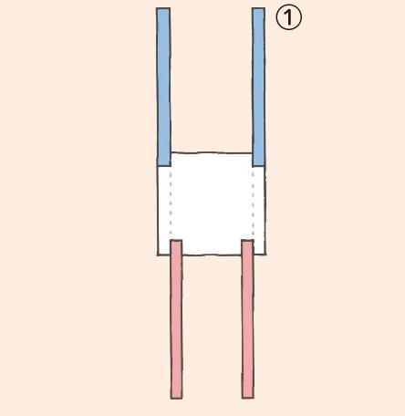 ① 10㎝角に切った工作用紙1枚に、長さ14㎝のリボン4本を下図のように  のりで貼り付けたものを、4枚作る。