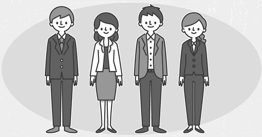 男女ともに紺、グレー、黒、茶の定番スーツの着用