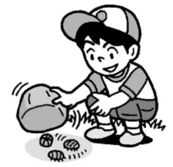 ダンゴムシを探す子ども