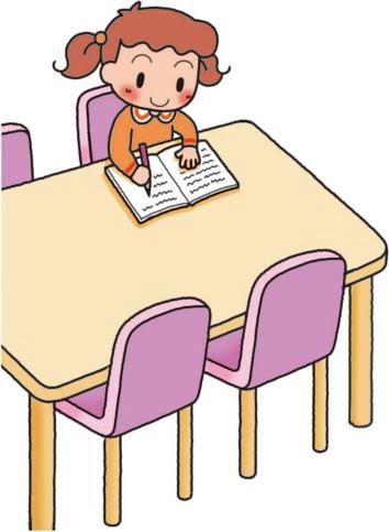 リビングで宿題する子