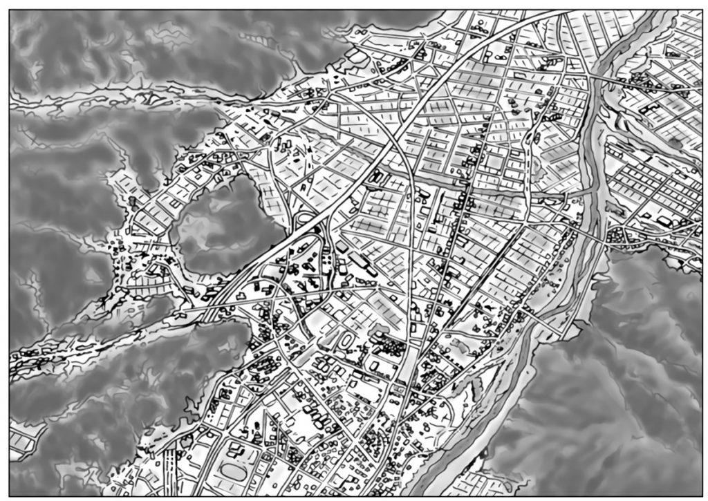 新潟県南魚沼市上空から市内を見下ろした写真