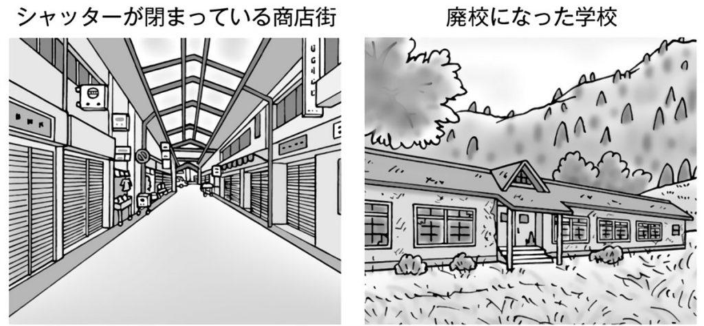 シャッターが閉まっている商店街・廃校になった学校