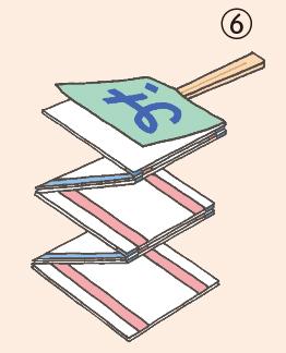 ⑥ 最後に、一文字ずつ文字が書かれた紙を、リボンに触れないように貼ったら完成。