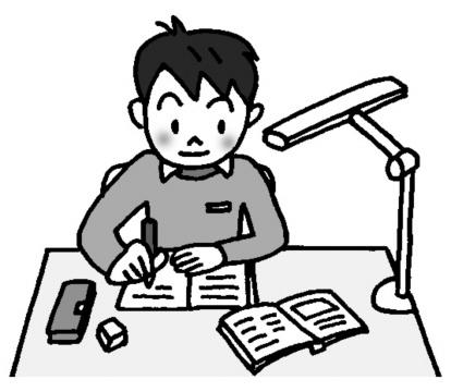 宿題をしている男子