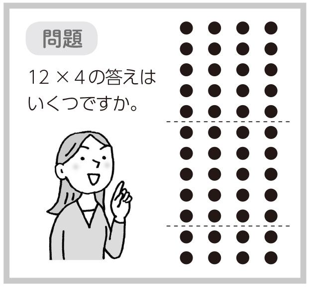 問題 12×4の答はいくつですか。