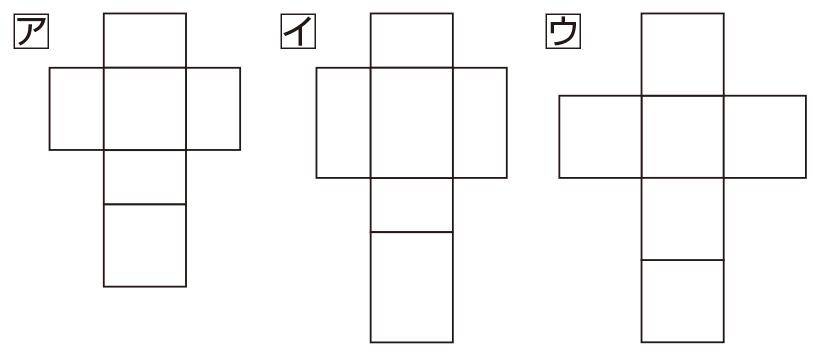 箱の展開図ア、イ、ウ