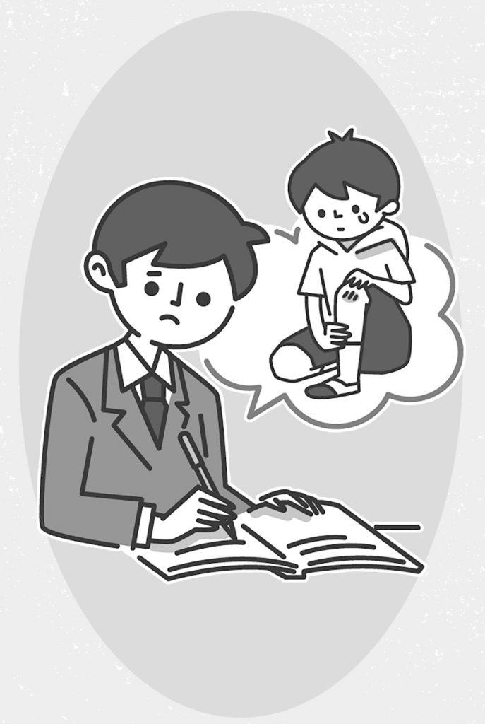 ケガした子供について連絡用を書く教師